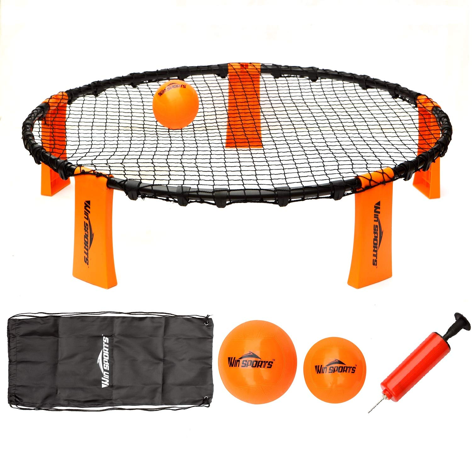 Volleyball Spike Game Set - Slam Ball Game Set - Played Outdoors, Indoors,Beach, Backyard, Tailgate for Kids,Adults,Family - Set Includes 3 Balls,1 Playing Nets,1 Pump,Carry Case,Rules Book by Win SPORTS