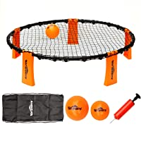 Win SPORTS Volleyball Spike Game Set,Slam Ball Game Set - Played Outdoors, Indoors,Beach, Backyard, Tailgate for Kids,Adults,Family, Includes 3 Balls,1 Playing Nets,1 Pump,Carry Case,Rules Book