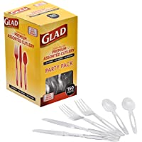 Glad Premium Assorted Plastic Cutlery | Clear And Extra Heavy Weight Forks, Knives, And Spoons |150 Piece Set of…