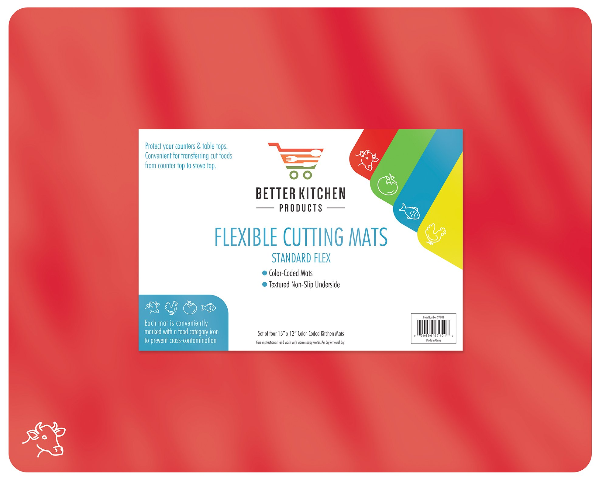 Extra Thick Flexible Plastic Cutting Board Mats, Set of 4, Color Coded with Food Icons, Waffle Back Grip Underside by Better Kitchen Products by Better Kitchen Products (Image #5)