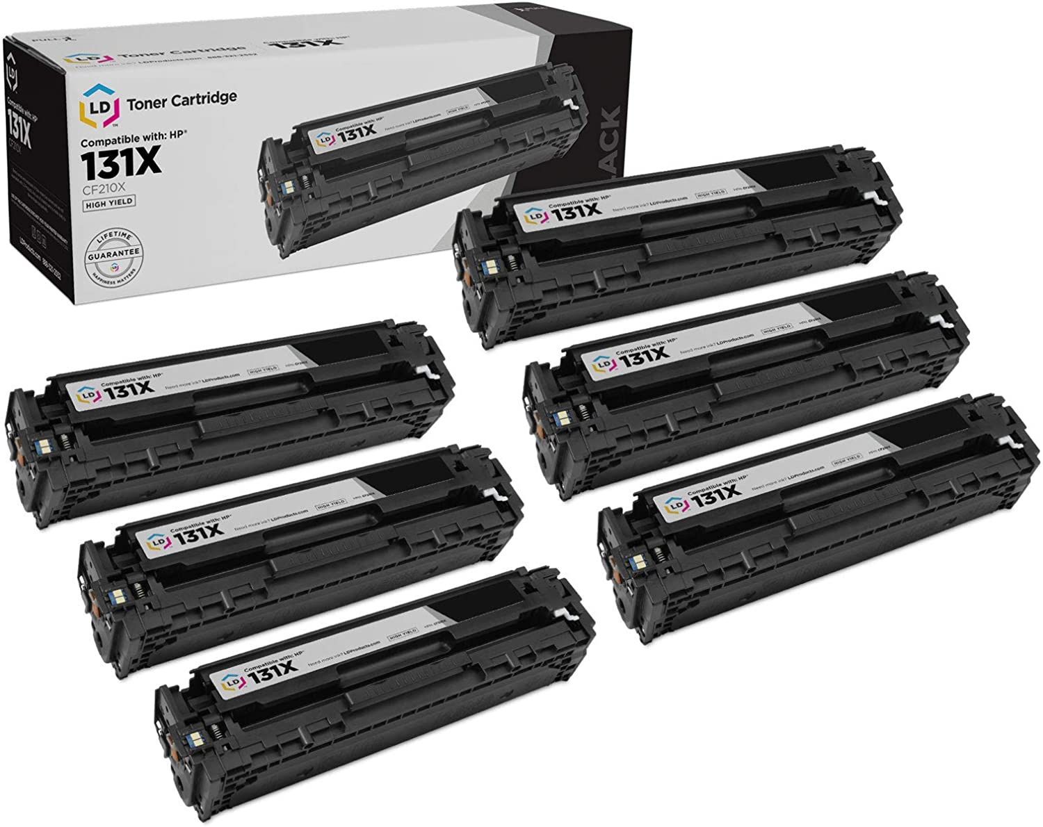 LD Remanufactured Toner Cartridge Replacement for HP 131X CF210X High Yield (Black, 6-Pack)
