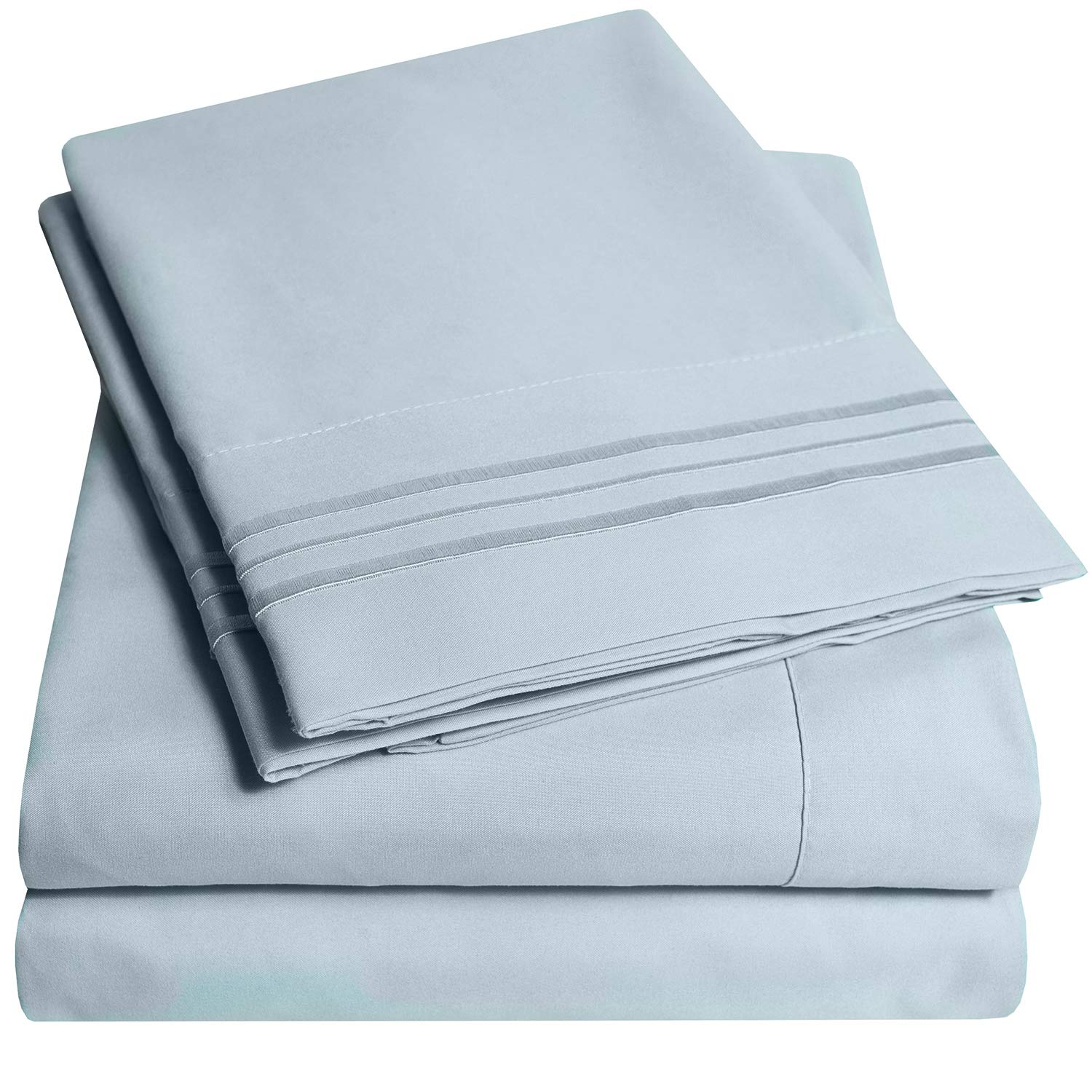 1500 Supreme Collection Extra Soft Full Sheets Set, Misty Blue - Luxury Bed Sheets Set with Deep Pocket Wrinkle Free Hypoallergenic Bedding, Over 40 Colors, Full Size, Misty Blue