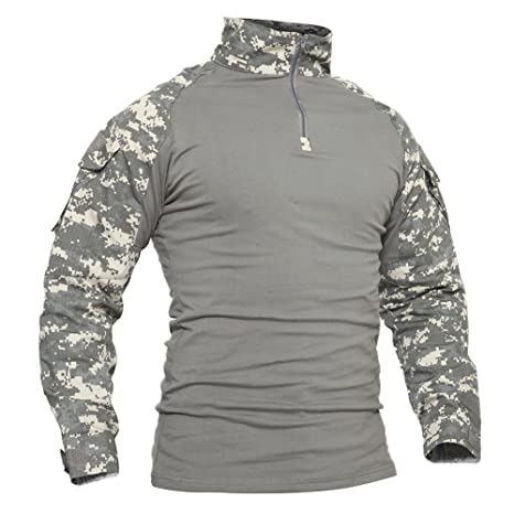 acfdc503a TACVASEN Mens Camouflage Camo Tactical Assault Long Sleeve T-Shirt Tops  ACU,US S