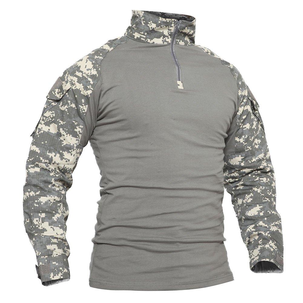 TACVASEN Mens Camouflage Camo Tactical Assault Long Sleeve T-Shirt Tops ACU,US S/Tag L