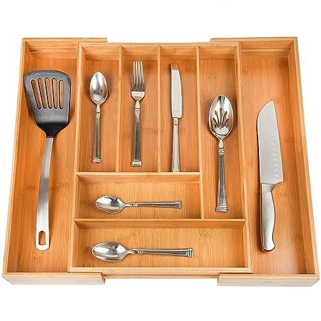 Casa Intuition ampliable cubiertos organizador de cajón, para utensilios y cubiertos divisores de cajón y