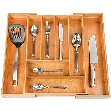 Casa Intuition ampliable cubiertos organizador de cajón, para utensilios y cubiertos divisores de cajón y soporte: Amazon.es: Hogar