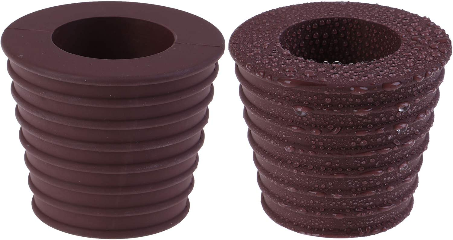 LOCOLO 2 Pack Umbrella Pole Wedge Fits 1.5 Inch Umbrella, Umbrella Cone for Patio Table Hole Opening Base 1.9 to 2.6 inch (2, Brown)