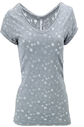 18a35bf3ec9cb9 Sublevel Damen T-Shirt Shirt Top Sterne Gr 36 S grau  Amazon.de ...