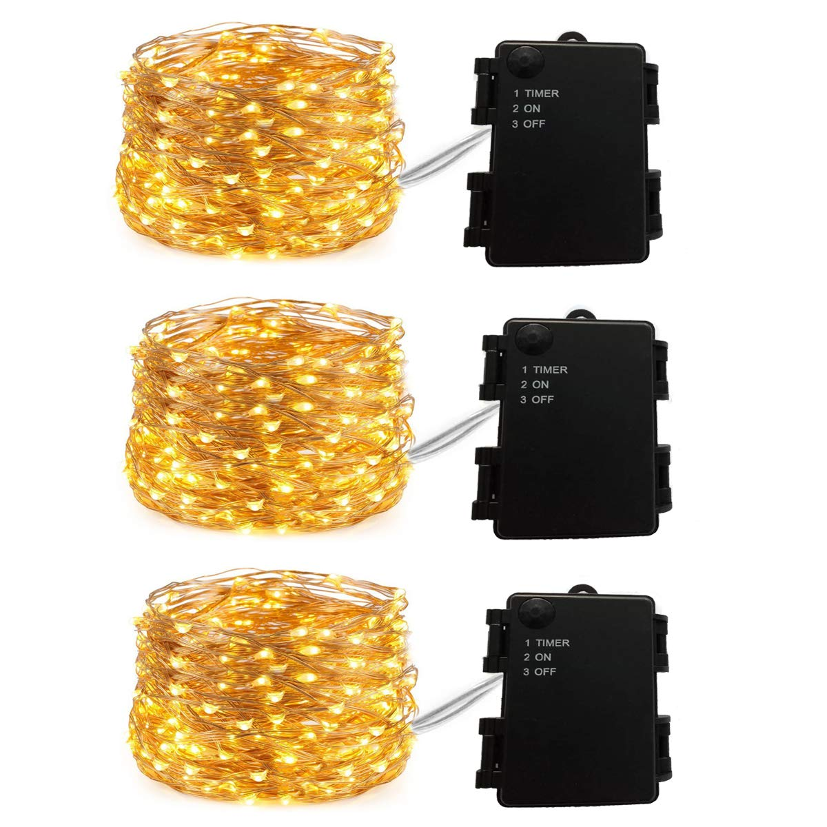 Improved Design with Timer 3 Sets Firefly Lights Battery Operated on 20ft Long 60 LEDs Fairy Lights Copper Wire Lights Waterproof Battery Box 6 Hours on/18 Hours Off, for Indoor and Outdoor Use