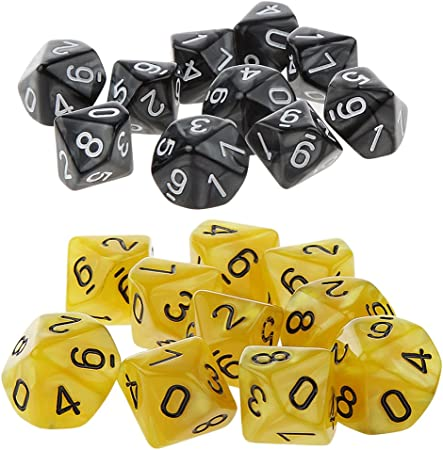 Yellow with Black Numbers Pack of 6 Tens D10 10-Sided Transparent Dice