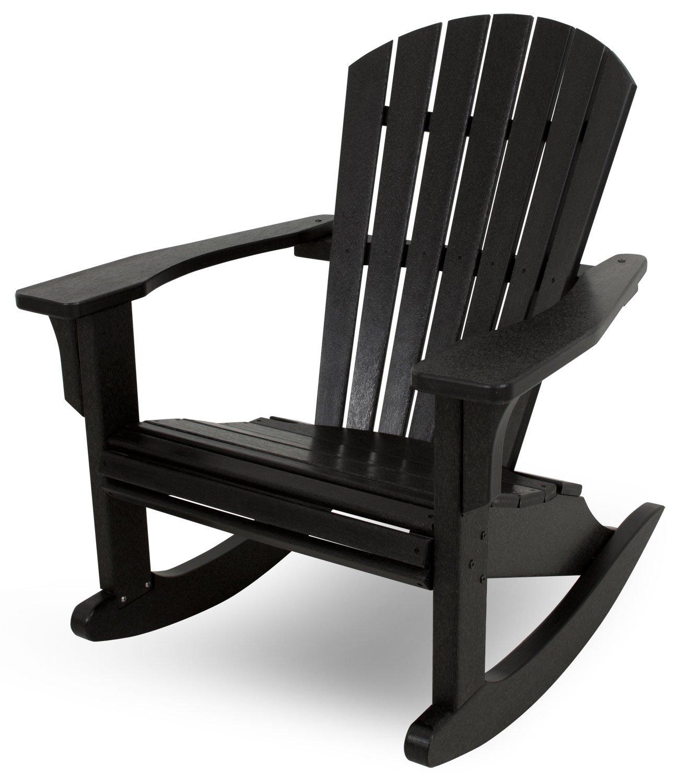 Black rocking chair - Amazon Com Polywood Shr22bl Seashell Rocker Black Patio Rocking Chairs Patio Lawn Garden