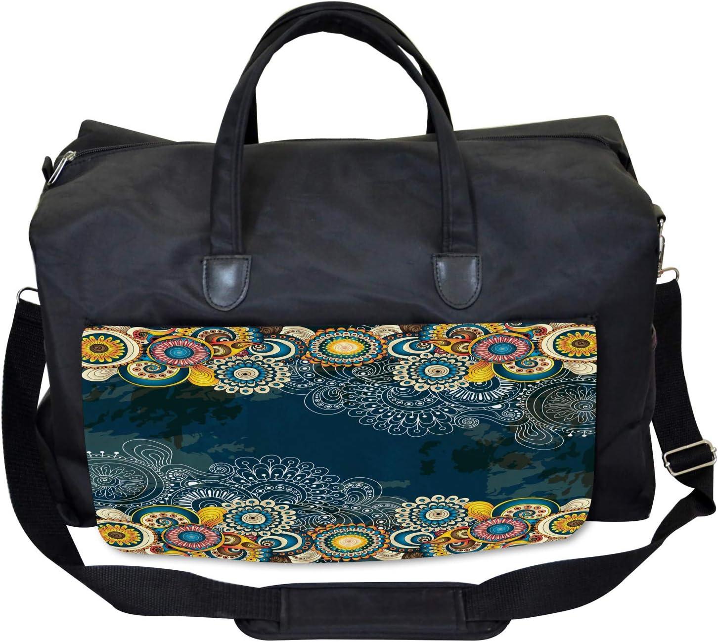 Large Weekender Carry-on Ambesonne Psychedelic Gym Bag Mandala Paisley