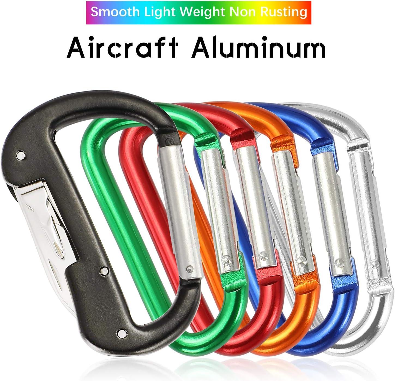 Multifunctional Keychain Clip sprookber Aluminum Carabiner D Shape Spring Snap Hook Key Chain Clip Set of 6