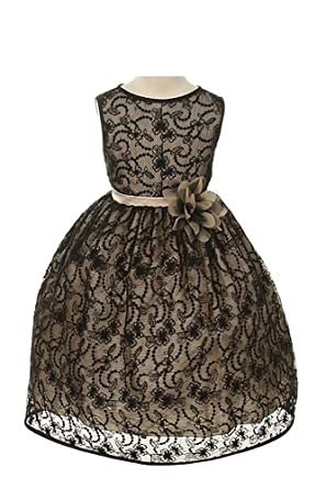 Girls Elegant Flower Girl Party Holiday Dress - Black Lace/Champagne 2