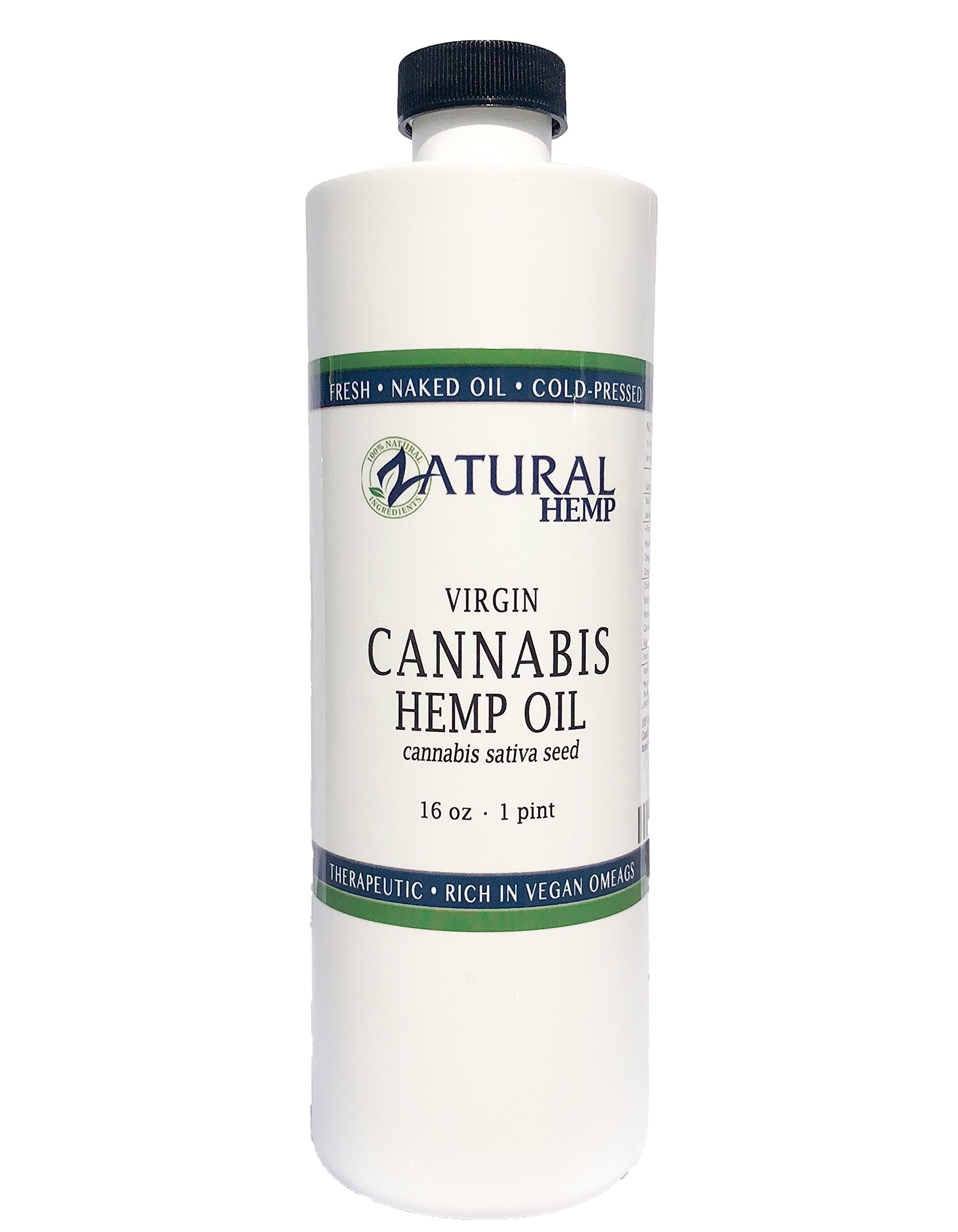 Hemp Oil Virgin, Cold-Pressed_100% Pure_No Fillers or Additives, Therapeutic Grade (NEW LOOK-SAME AMAZING PRODUCT) (16 Ounce)