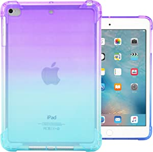 Dteck iPad Mini 1/2/3/4 Case - Ultra Slim Lightweight [Corner Protection/Scratch Resistant] Soft TPU Gel Silicone Back Protective Cover for Apple iPad Mini/Mini 2/ Mini 3/ Mini 4, Purple&Mint