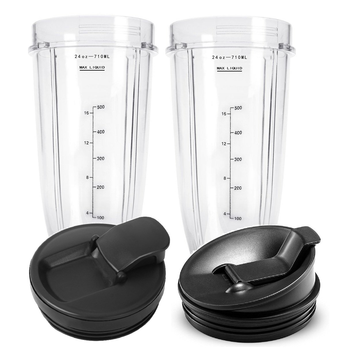 24 oz Cups, Compatible with BL480, BL490, BL640, BL680 for Nutri Ninja Auto IQ Series Blenders (Pack of 2)