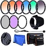 K&F Concept 58mm Ensemble de 9 Filtres (UV+CPL+FLD+Bleu+Orange+Gris+Rouge+Vert+Brun) Filtre de protection UV Filtre Polarisant Circulaire Filtre à Densité Neutre Filtres Couleur Gradués