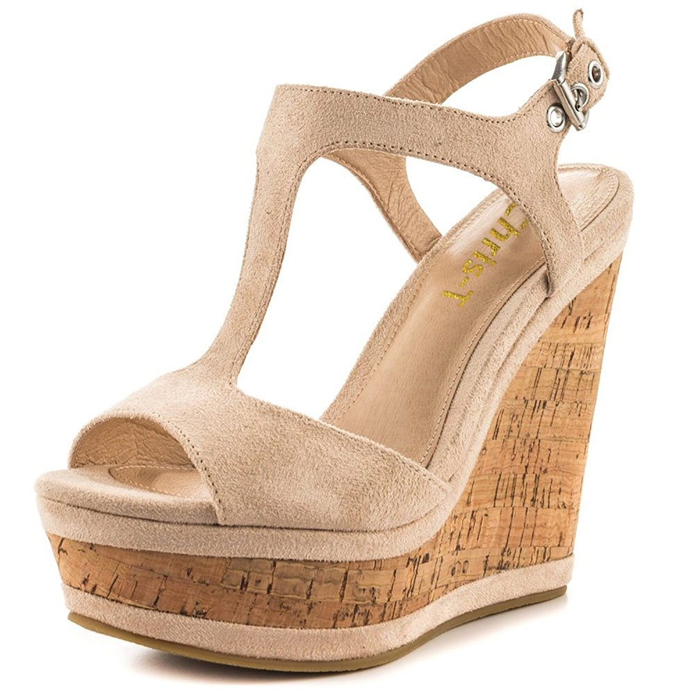 Chris-T Women's Wedges Sandals High Platform Open Toe Ankle Strap Party Shoes B07D4GTKDC 6 B(M) US|Nude S