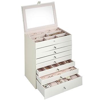 Amazoncom Beautify Large White Faux Leather Jewelry Box