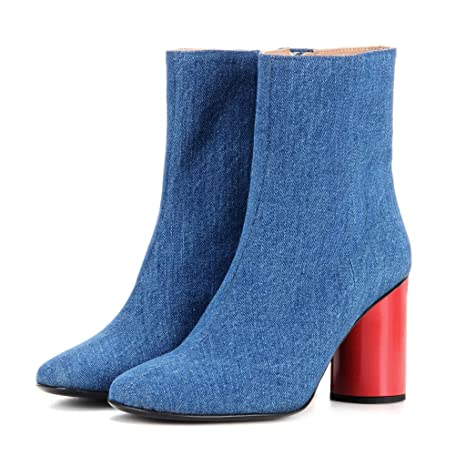 dd1e244ebbe7ba FTTHOU Women s Light Blue Denim High Heel Ankle Boots Red Cylindrical Thick  with Short Boots Side