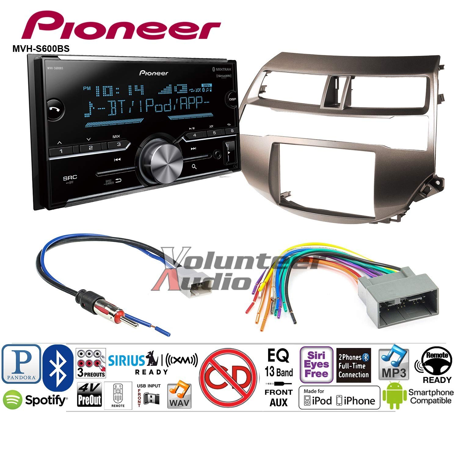 Volunteer Audio Pioneer MVH-S600BS Double Din Radio Install Kit with Bluetooth USB/AUX Fits 2008-2012 Honda Accord (Gun Metallic Taupe)