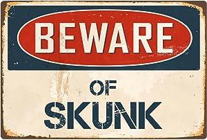 """StickerPirate Beware of Skunk 8"""" x 12"""" Vintage Aluminum Retro Metal Sign VS392"""