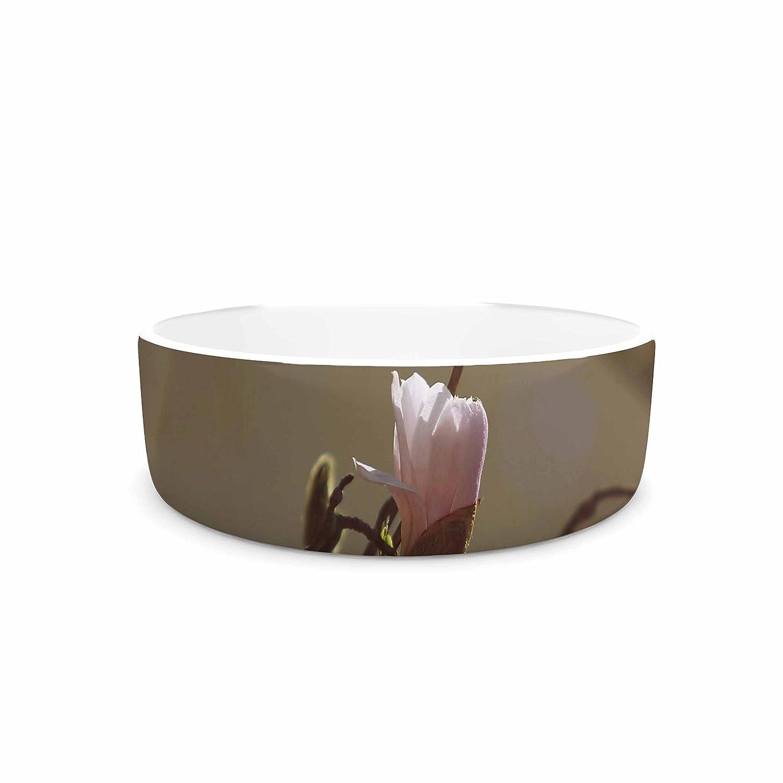 4.75\ KESS InHouse Angie Turner Magnolia Blooms  Pink White Pet Bowl, 4.75