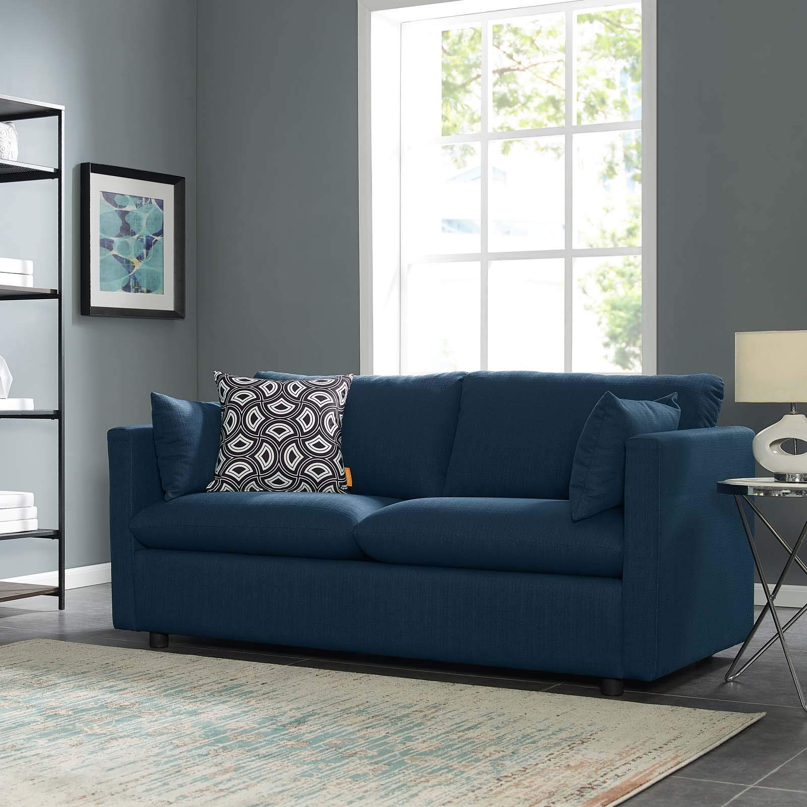 CDM product Modway Activate Contemporary Modern Fabric Upholstered Apartment Sofa Couch In Azure big image