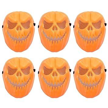 Amosfun 6 Unids Halloween Divertido Tricky Máscara Calabaza Mascarilla Plástica Scary Skull Máscara Cosplay Demonio Demonio