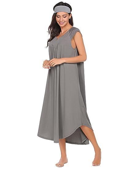 Diaper Women s V-Neck Cap Short Sleeve Nighties Sleepwear Nightgown Dress  With Eye Mask befc5e76d