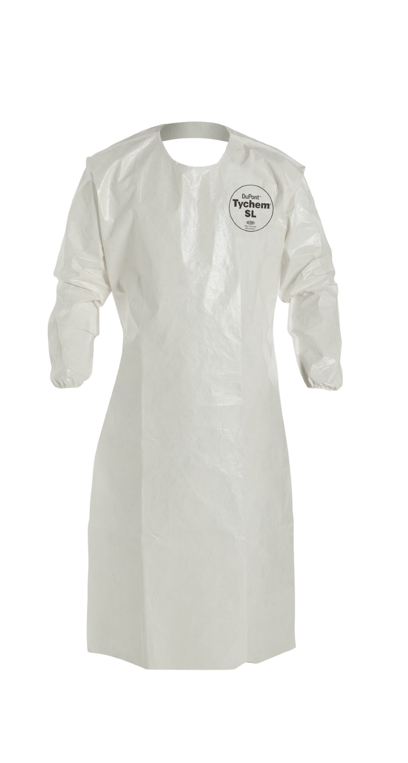 DuPont Tychem 4000 SL278B Sleeved Apron with Bound Seams, Disposable, Elastic Cuff, Universal Size, White (Pack of 12) by DuPont