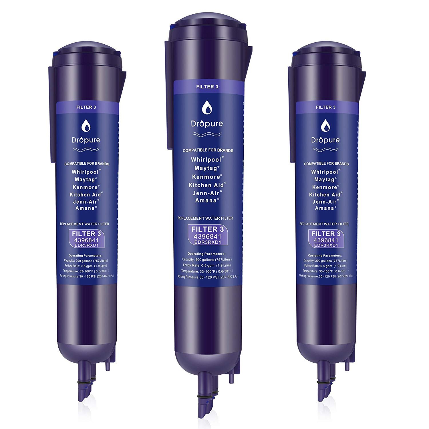 439684I Refrigerator Water Filter Compatible With P2RFWG2, EDR3RXDI, Filter 3, 4396 841,43967I0, Pur Water Filter, Kenmore 46-9030, 46-9083