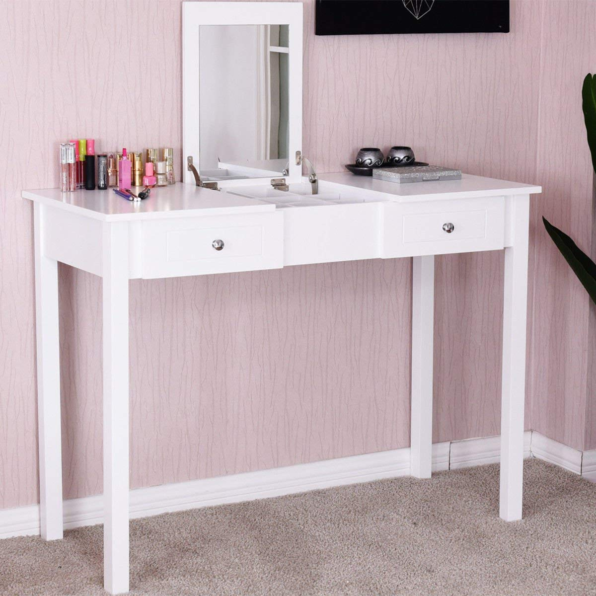 Giantex Vanity Table with Flip Top Mirror with 2 Drawers 1 Removable Organizer Dressing Table Vanity Table, White by Giantex (Image #2)