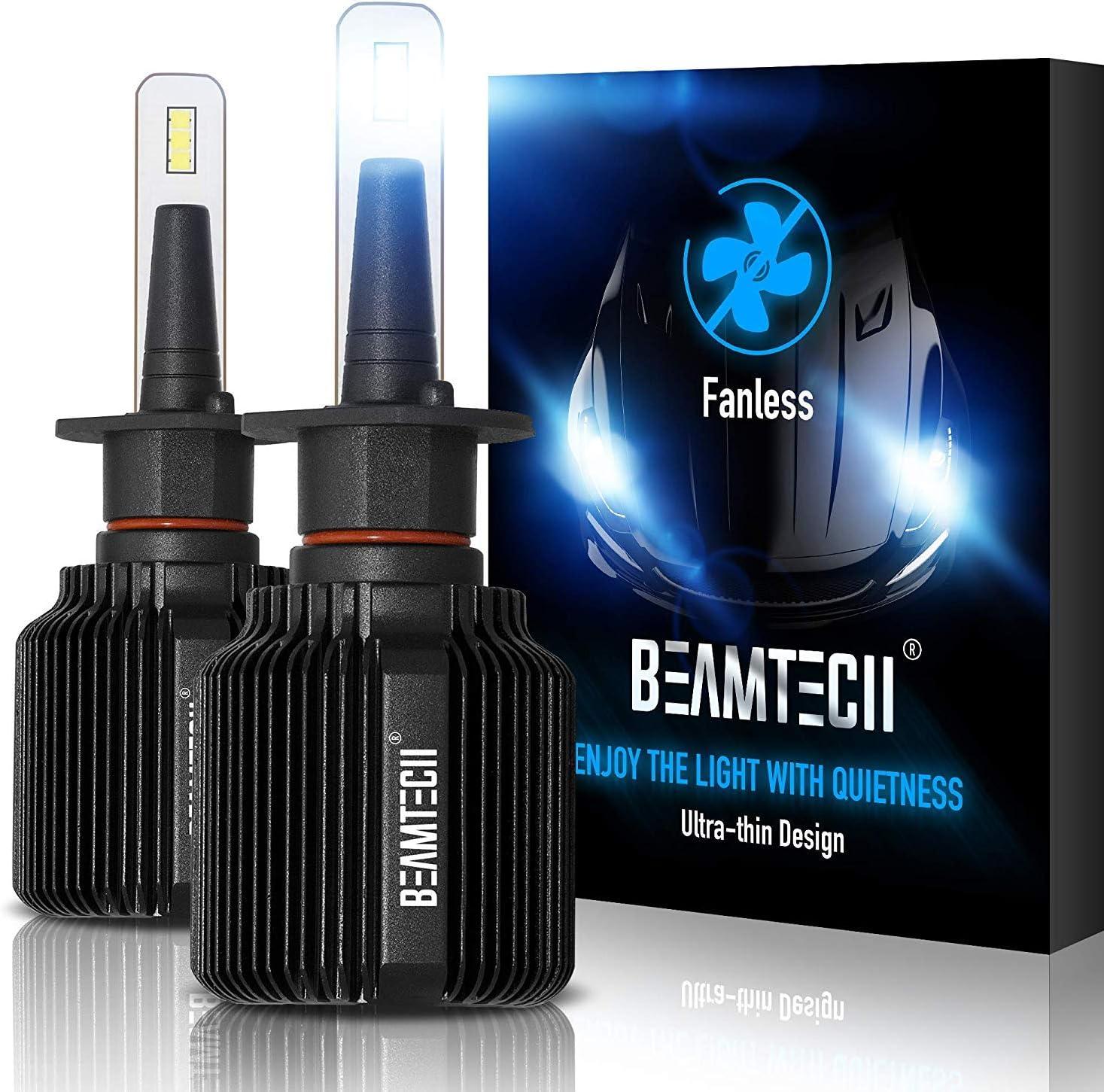 Bombillas LED para faros delanteros reemplazo hal/ógeno xen/ón blanco 8000 lm kit de conversi/ón de haz alto//bajo BEAMTECH H1 dise/ño sin ventilador paquete de 2 6500 K CSP Y19