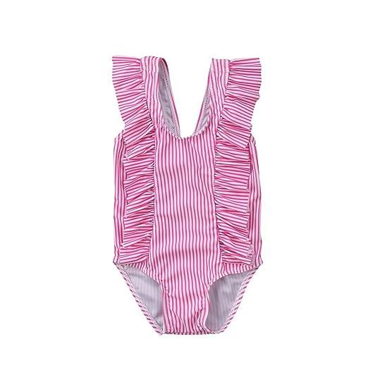 bcaa54d271799 GSHOOTS Baby Girls' Striped Ruffle Swimsuit Bikini Swimwear (70/0-6 Months