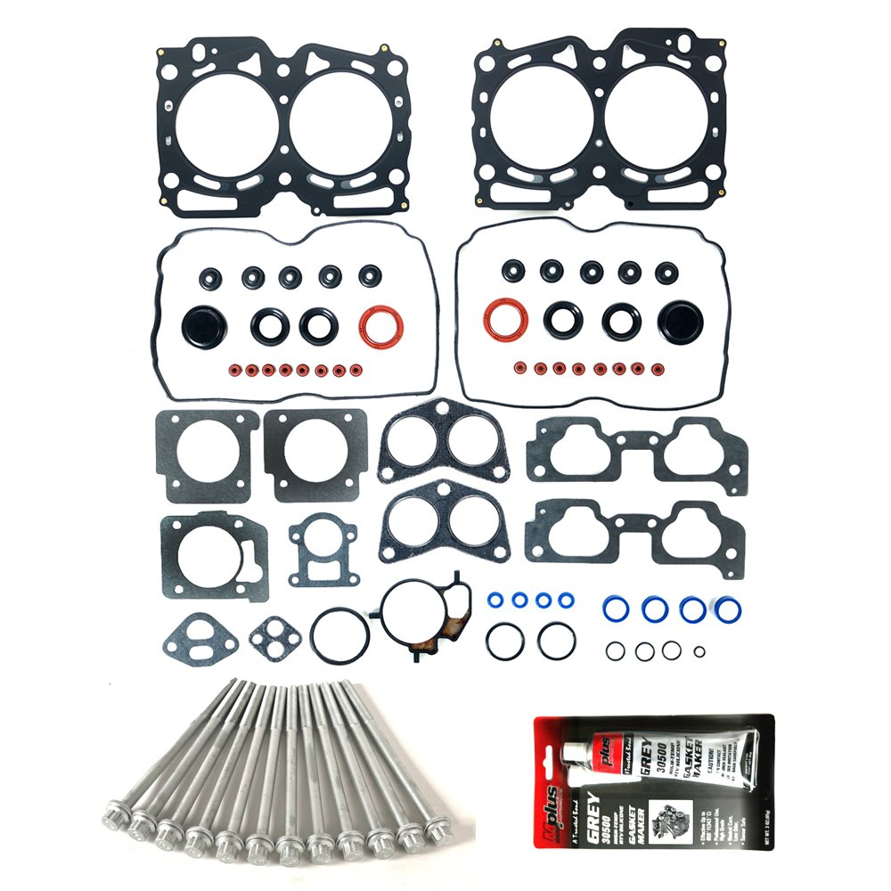 MPLUS Cylinder Head Gasket Set & RTV Gasket Silicone & Head Bolt Kit Compatible for 99-03 Subaru Impreza & 99-03 Subaru Forester & 00-03 Subaru Outback/Legacy 2.5L EJ25 OELINE Auto Parts