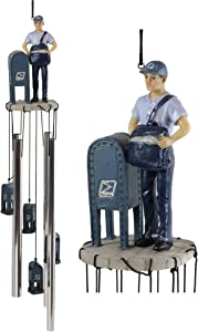 Ebros Gift Decorative United States Postal Mailman Postman Standing by Public Mail Box Resonant Relaxing Wind Chime Patio Garden Home Accent Shipping Delivery Cargo and Mail Letters Post Office