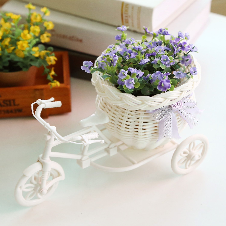 Soledi® Plastic White Tricycle Bike Design Flower Basket Storage Container For Flower Plant Home Party Weddding Decoration DIY Random Color SD-35464