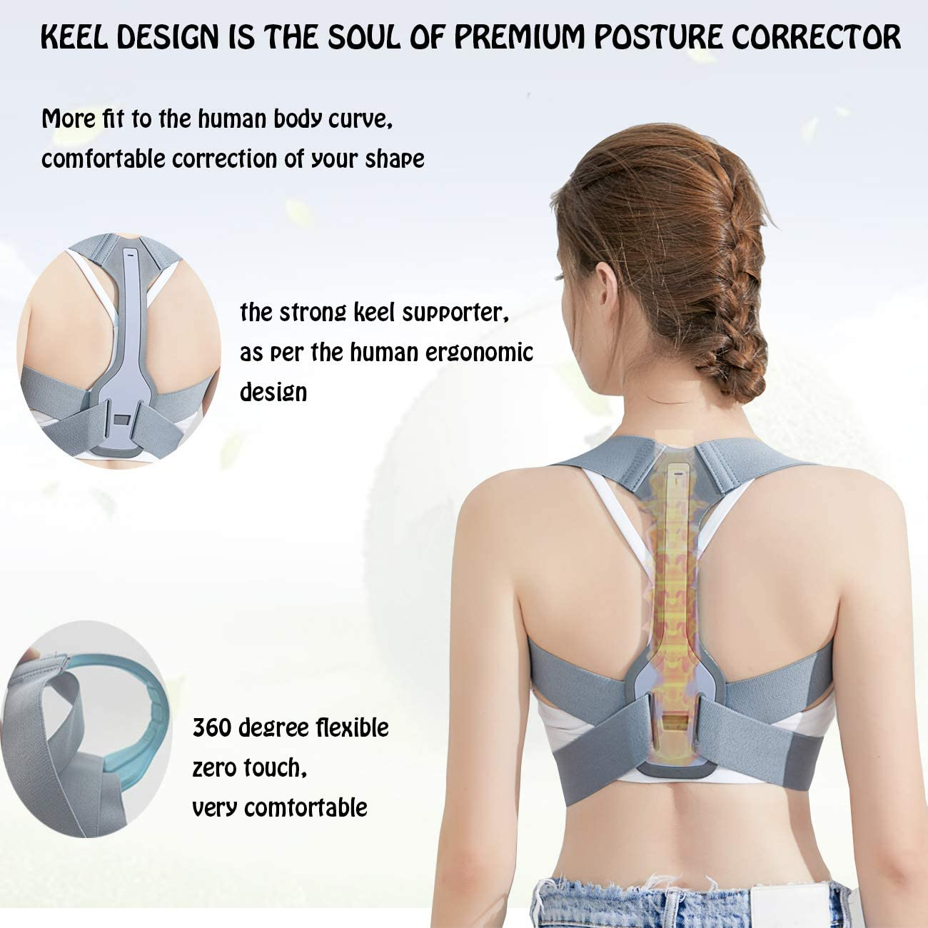 Back /& Shoulder M# 28~34 Invisible Back Posture Corrector for Men and Women,Upper Back Spine Supporter Straightener Adjustable Back Straightener and Providing Pain Relief from Neck