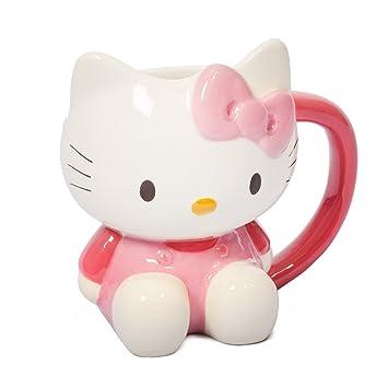 Hello Kitty 3d de taza de novedad - Taza, blanco y rosa: Amazon.es: Hogar
