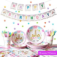 Unicorn Party Supplies Birthday Tableware Set Service 16 Guest Disposable for Girls Kids (Party Tableware)