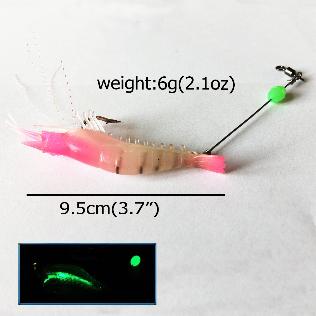 Luminous Life Like Shrimp lure Set soft Artificial Silicone Soft Bait 3.7\