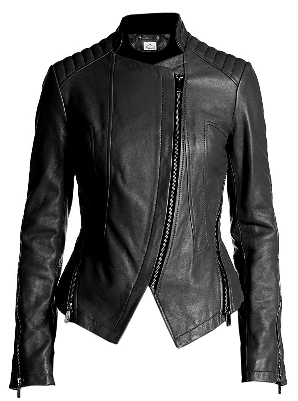VearFit Tranqum Moto Clasic Real Leather Jacket for Women Winter Biker HF16-W27
