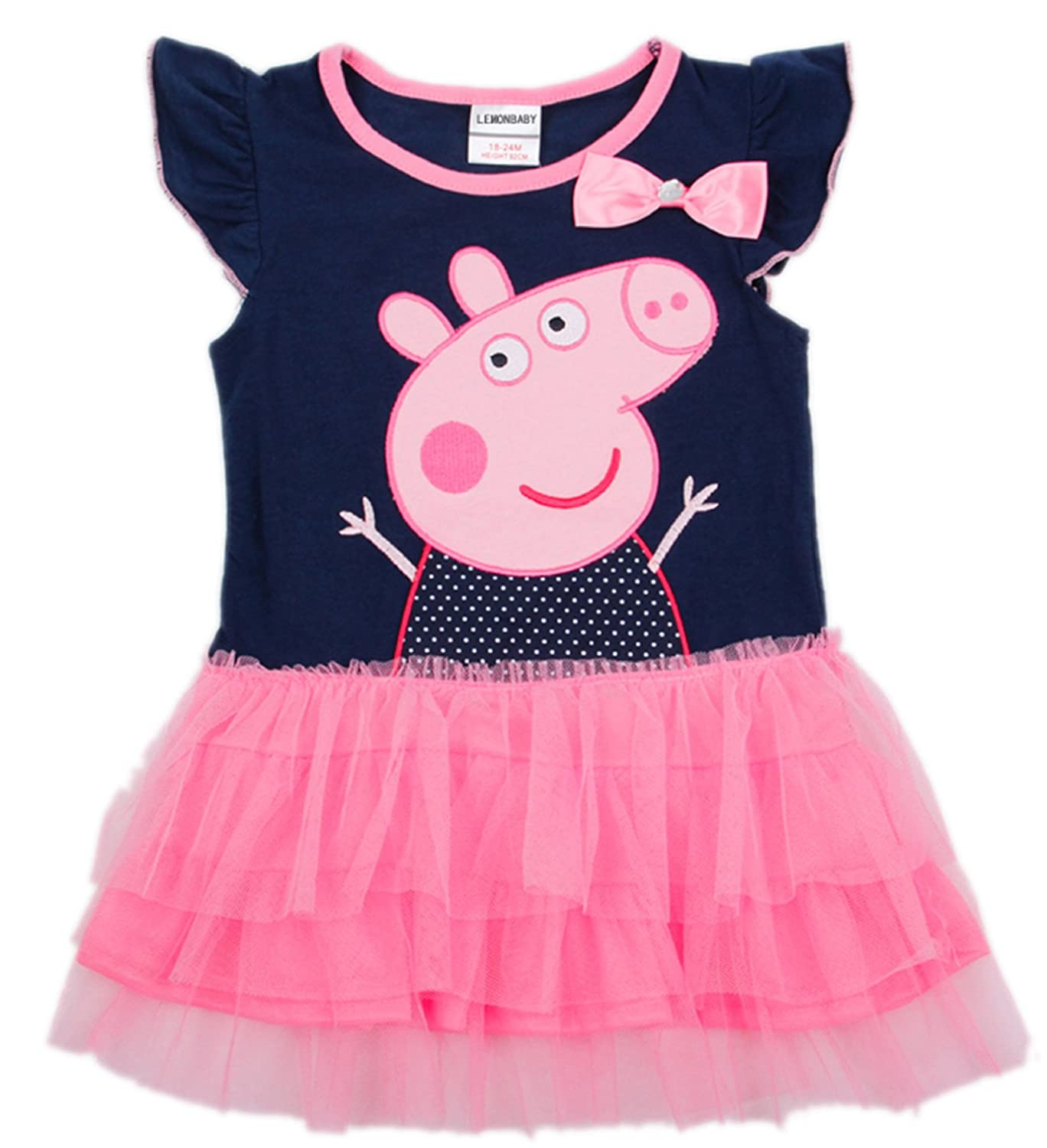 LEMONBABY Peppa Pig Girl's Dress Fashion Clothing Kids Cartoon Wear Child LMBY-0345