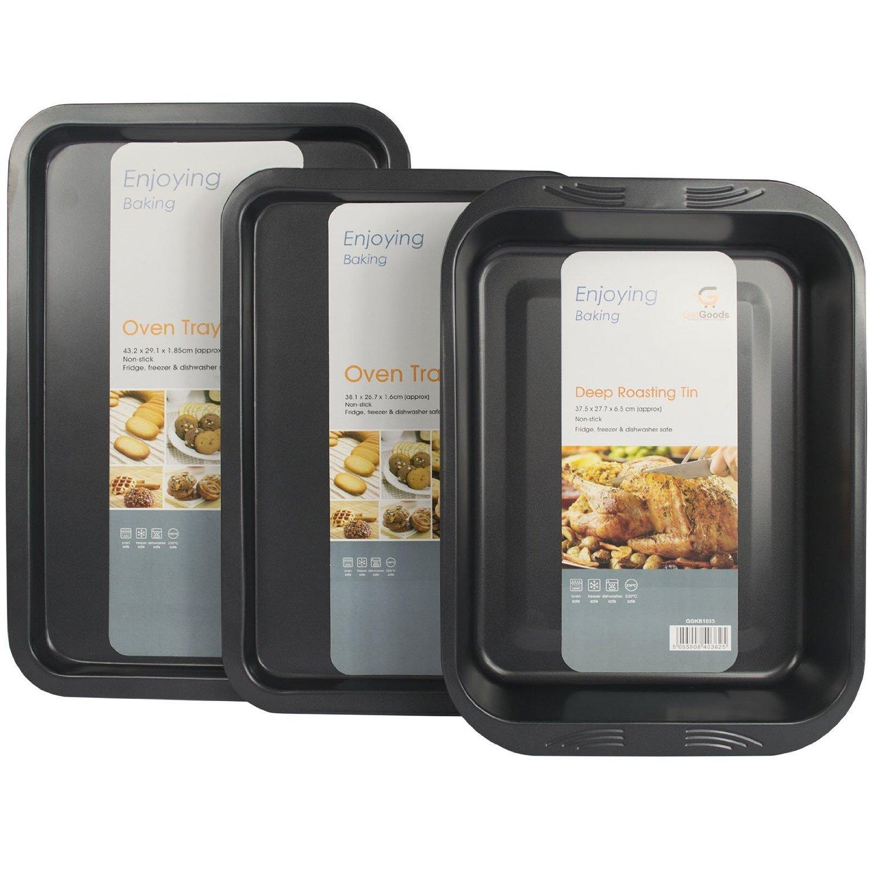 3 Piece Get Goods Enjoy Baking Non Stick Teflon Large Oven Baking Roasting Pan Dish Tin Trays Set