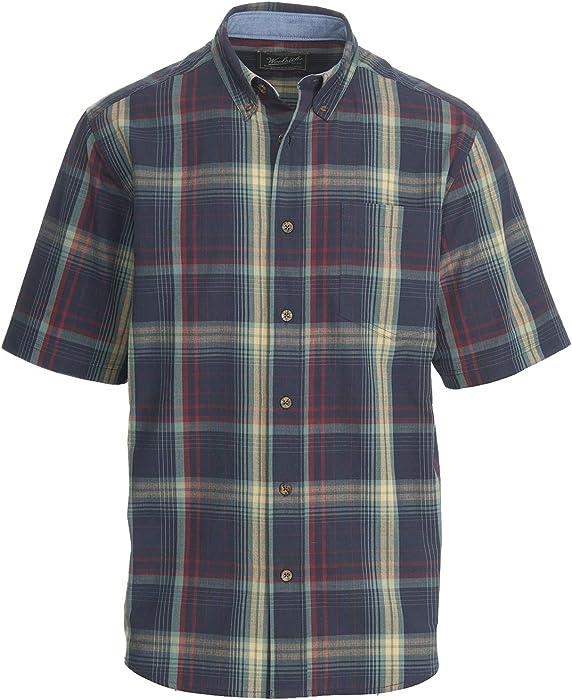bed29d4f038be2 Woolrich Men's Juniata Short Sleeve Plaid Shirt - 100% Cotton, DEEP Indigo  (Blue), Size S at Amazon Men's Clothing store: