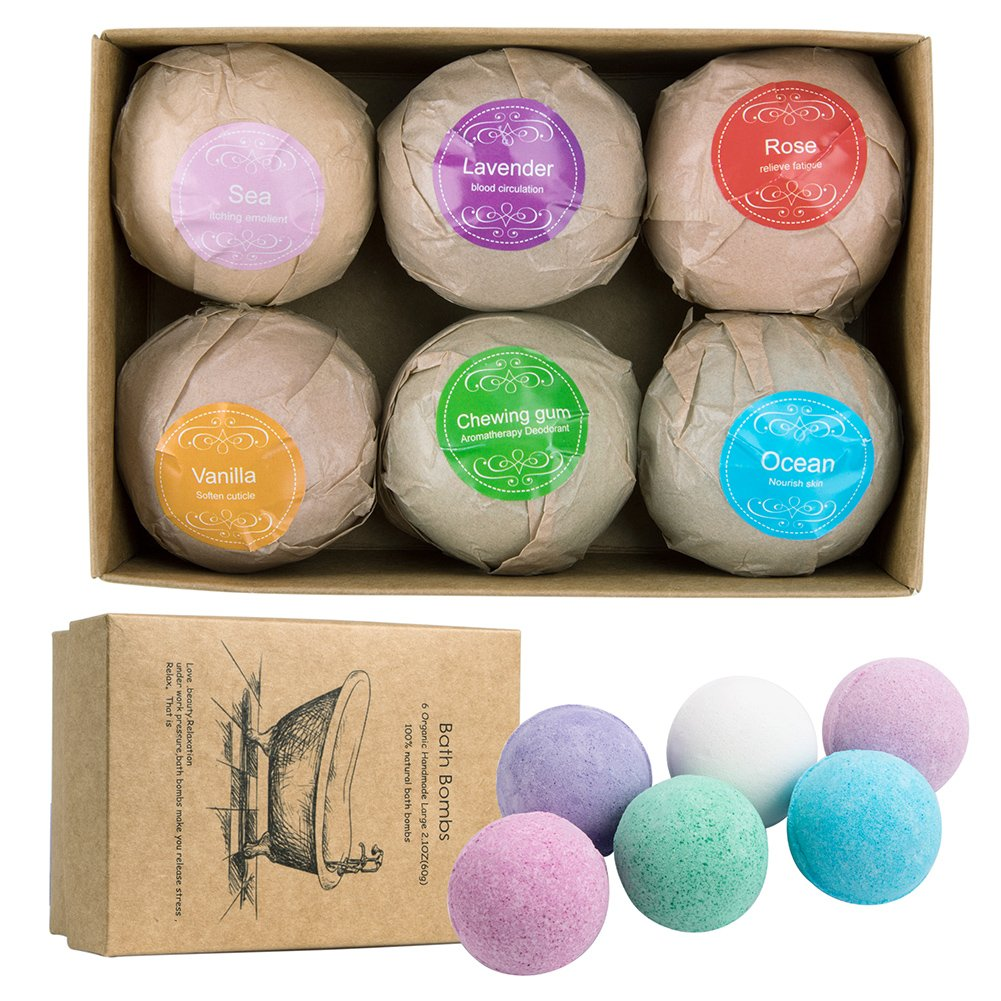 Bath Bombs Gift Set, 6 Handmade Organic Bath Bombs Birthday Kit for Wife Girlfriend Women Kids Boys Men, Essential Oils, Aromatherapy Relaxation Moisturizing SPA Fizzies, Anniversary Valentine's Day Vidillo