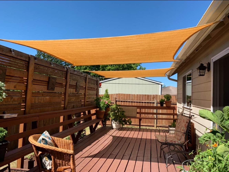 ZusFut Toldo Vela de Sombra 2x3 3x4 Rectangular 185GSM Opaca Vela Parasol Jardín Terraza Exterior (3 * 4m, Beige)