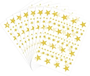 8 Sheet 632 Pieces Foil Star Stickers Reward Star Stickers Labels, Assorted Size Glitter Star Stickers for Home, Bar, DIY and Office (Gold)